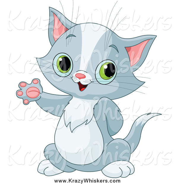 Critter Clipart of a Cute Gray Kitten Waving