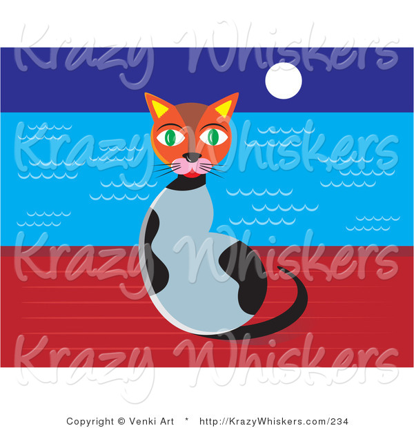 Critter Clipart of a Cute Green Eyed Calico Cat Sitting on a Wall at Night with the Full Moon Shining over the Ocean Waters
