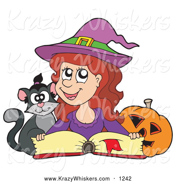 Critter Clipart of a Cute Halloween Witch Reading a Spell Book with a Cat