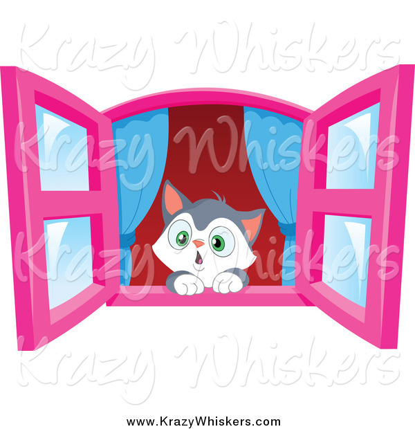 Critter Clipart of a Cute Kitten in Awe, Looking out a Window