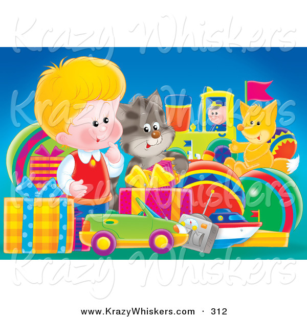 Critter Clipart of a Cute Little Blond White Boy, a Cat and Fox Admiring a Large Group of Birthday Presents