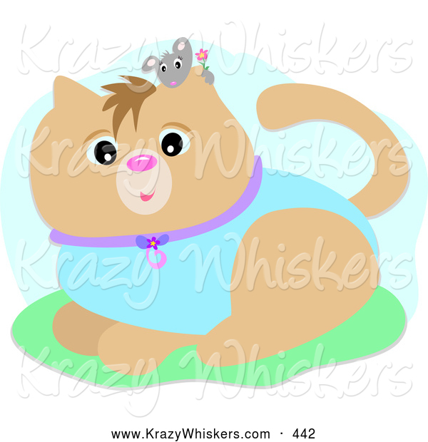 Critter Clipart of a Cute Little Gray Mouse Holding a Flower, Peeking over a Cat Wearing a Blue Suit