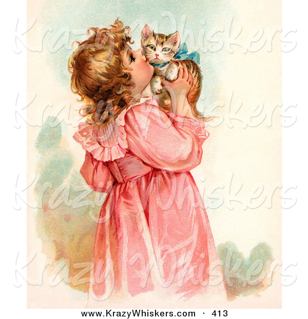 Critter Clipart of a Cute Little Victorian Girl in a Pink Dress, Holding up and Kissing Her Cute Kitten on the Cheek