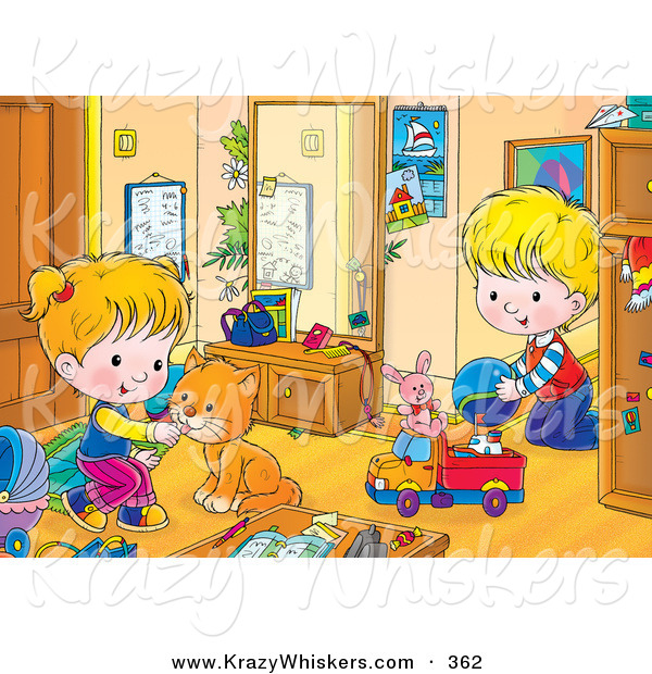 Critter Clipart of a Cute Orange Cat Playing with a Boy in a Girl in Their Room