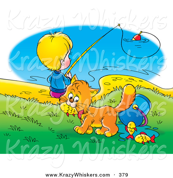 Critter Clipart of a Cute Orange Cat Stealing Fish from a Bucket While a Boy Fishes in the Background