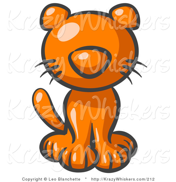 Critter Clipart of a Cute Orange Kitten Looking Curiously at the Viewer