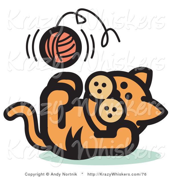 Critter Clipart of a Cute Orange Kitten Lying on His Back and Throwing a Ball of Yarn up in the Air While Playing