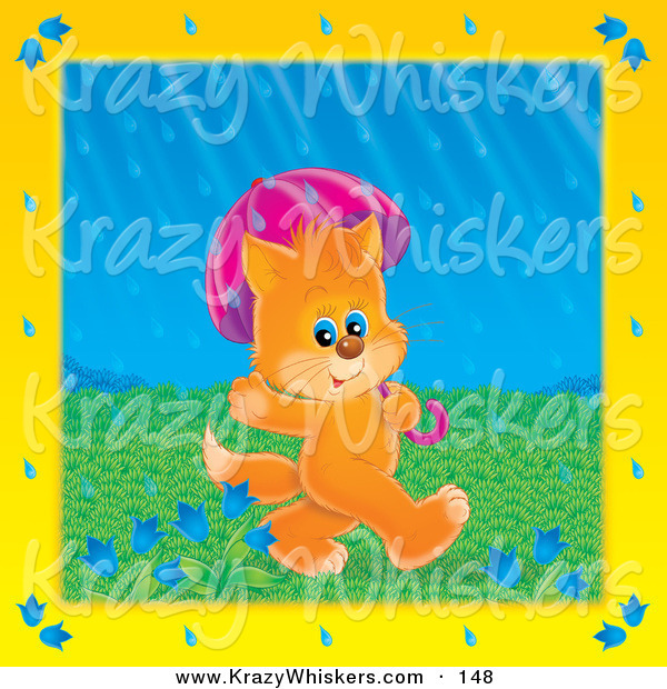 Critter Clipart of a Cute Orange Kitty Cat Waving Walking Under an Umbrella on a Rainy Spring Day