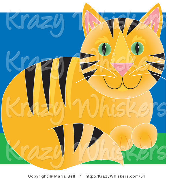 Critter Clipart of a Cute Orange Tabby Cat with Black Stripes and Green Eyes, Sitting in Grass
