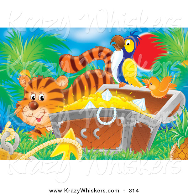 Critter Clipart of a Cute Orange Tiger by a Bird Flying by a Parrot Perched on a Treasure Chest Full of Gold and Diamonds