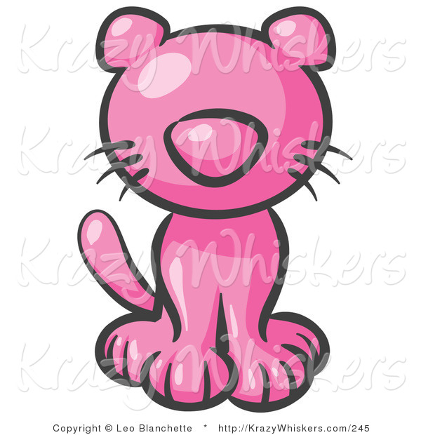 Critter Clipart of a Cute Pink Kitten Looking Curiously at the Viewer