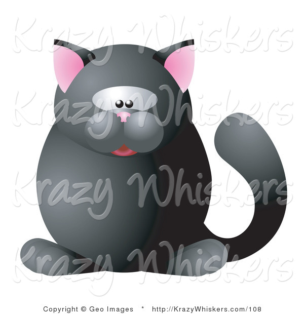 Critter Clipart of a Cute Round Black Cat with Pink Ears