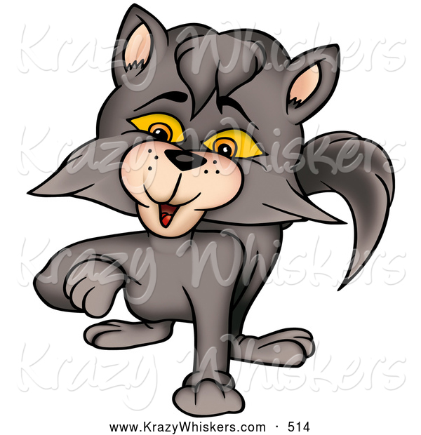 Critter Clipart of a Cute Smokey Gray Cat Walking Forward