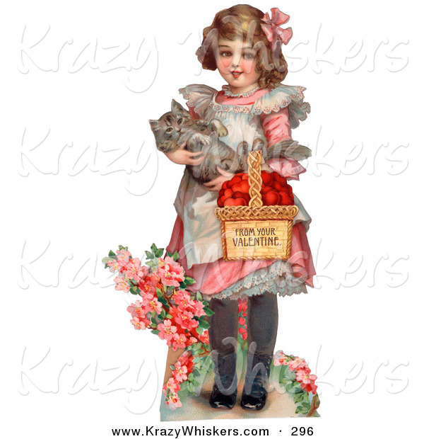 Critter Clipart of a Cute Vintage Valentine of a Sweet Little Girl Carrying a Basket of Red Hearts and a Cat in Her Arms, Walking in a Flower Garden, Circa 1885