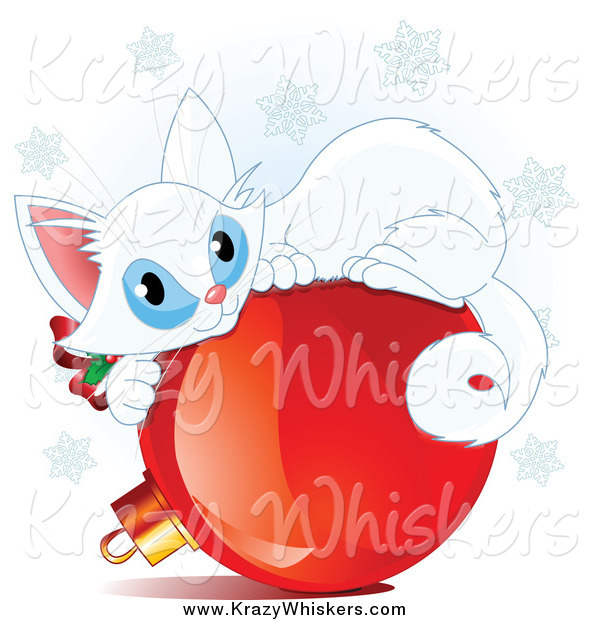Critter Clipart of a Cute White Christmas Kitten Curled up on a Red Ornament