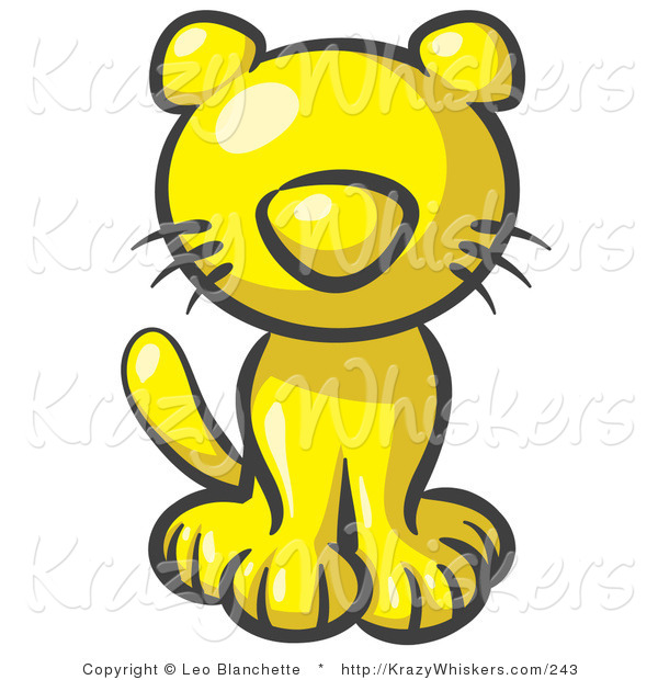 Critter Clipart of a Cute Yellow Kitten Looking Curiously at the Viewer