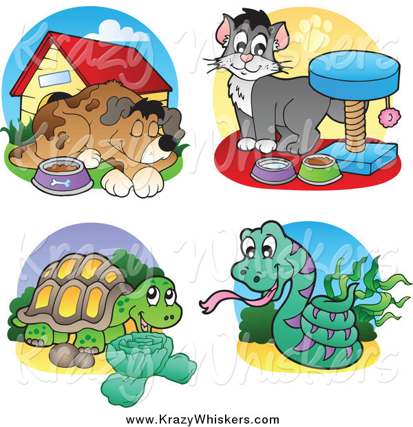 Critter Clipart of a Dog, Cat, Tortoise and Snake