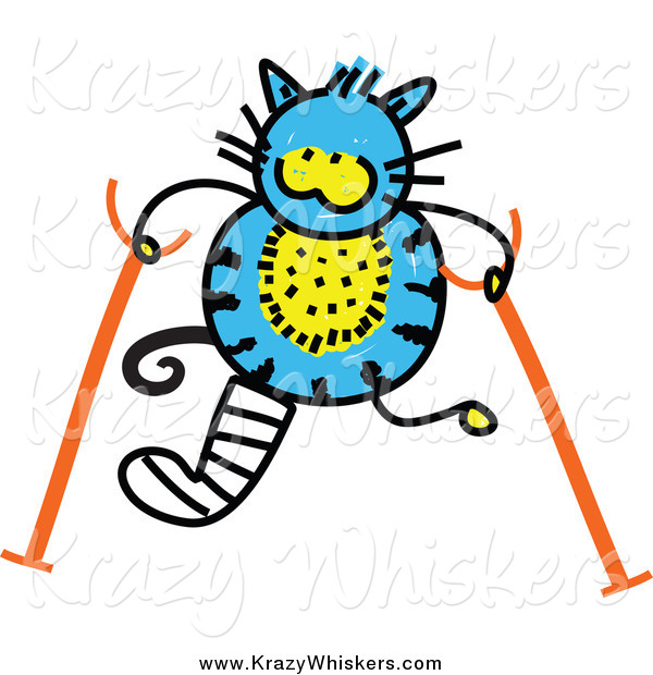 Critter Clipart of a Doodled Blue Cat with Crutches
