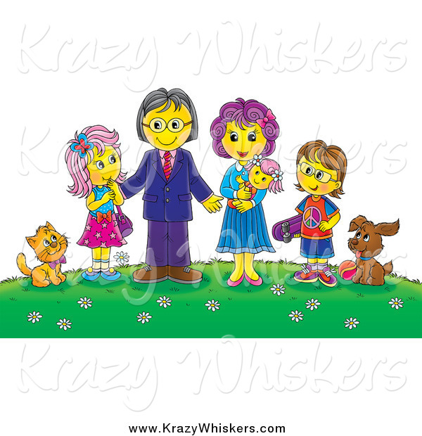 Critter Clipart of a Family and Their Pets on a Hill with Flowers