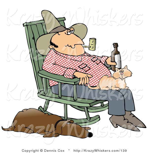 Critter Clipart of a Farmer Man Smoking a Pipe and Drinking a Beer While Sitting in a Rocking Chair with a Cat in His Lap and His Hound Dog at His Side