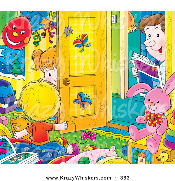 Critter Clipart of a Father Peeking in a Bright, Colorful Room, Watching His Son and Daughter Play