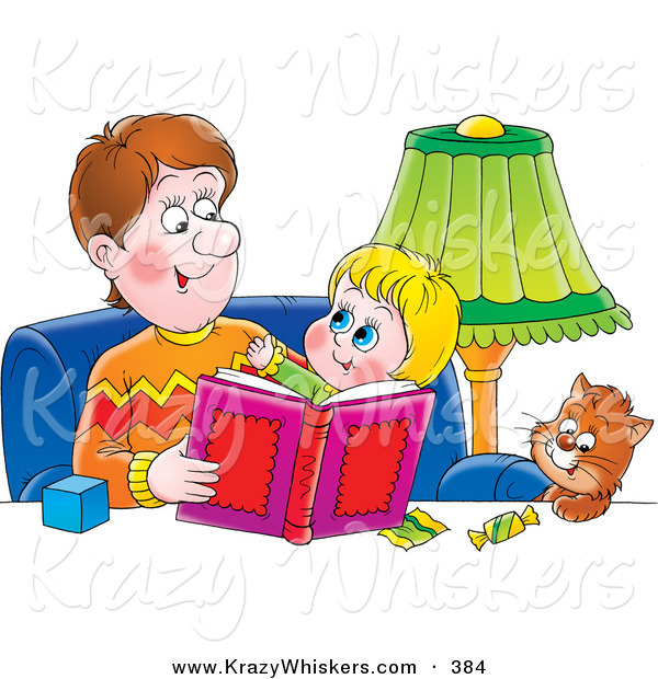 Critter Clipart of a Father Sitting with a Cat and His Daughter, Reading a Book