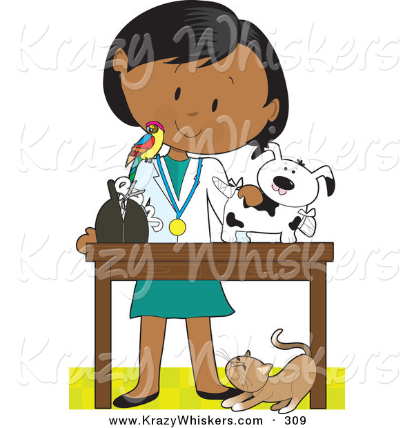 Critter Clipart of a Female Hispanic Veterinarian with a Bird on Her Shoulder, Bandaging up an Injured Puppy, a Cat at Her Feet
