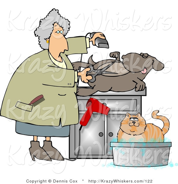 Critter Clipart of a Female Pet Groomer Cutting and Trimming Dog Hair While a Cat Bathes Nearby