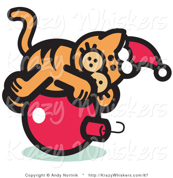 Critter Clipart of a Festive Orange Cat Wearing a Santa Hat and Lying on a Red Christmas Bauble Ornament
