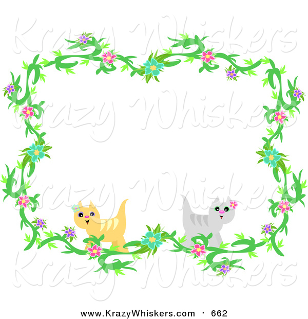 Critter Clipart of a Floral Vine and Cat Border