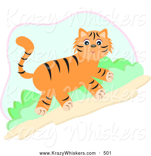 Critter Clipart of a Friendly Cute Tiger Walking Uphill