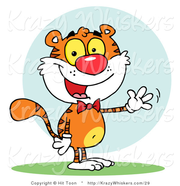 Critter Clipart of a Friendly Tiger Wearing a Red Bow Tie and Waving Hello