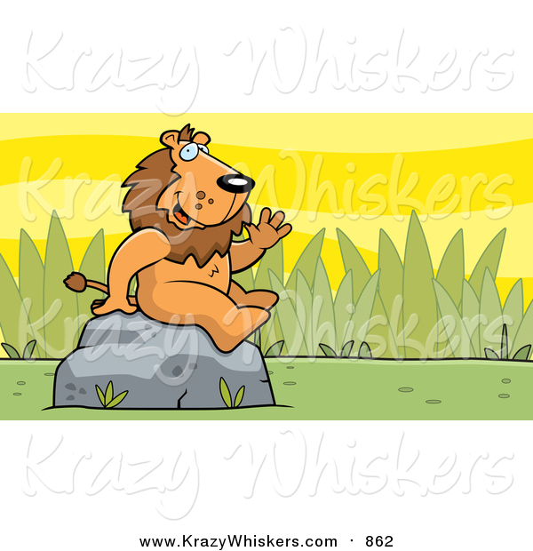 Critter Clipart of a Friendly Waving Male Lion Character on a Rock
