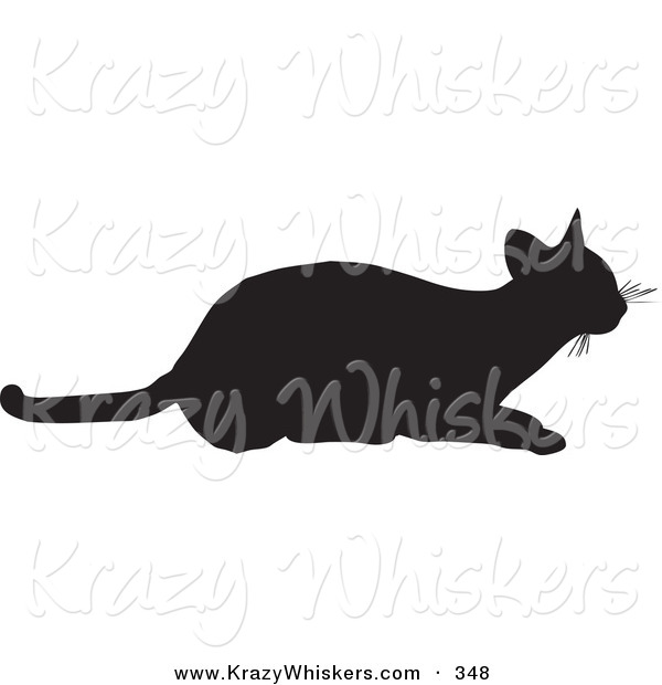 Critter Clipart of a Frisky Cat Silhouetted in Black, Ready to Pounce on White