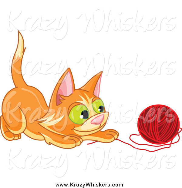 Critter Clipart of a Frisky Ginger Kitten Playing with a Ball of Red Yarn