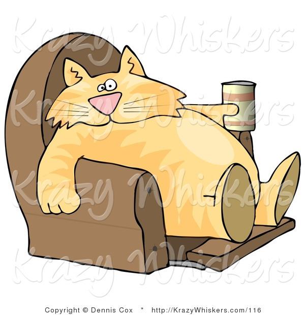 Critter Clipart of a Funny Human-like Orange Tabby Cat Sitting on a Recliner Chair with a Can of Beer