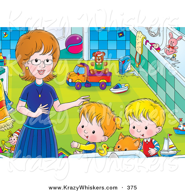 Critter Clipart of a Ginger Cat and a Pair of Kids Getting Help from Mom in a Bathroom