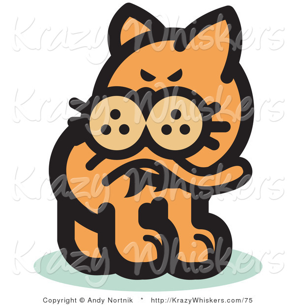 Critter Clipart of a Ginger Cat Biting His Tail to Ease a Flea Itch