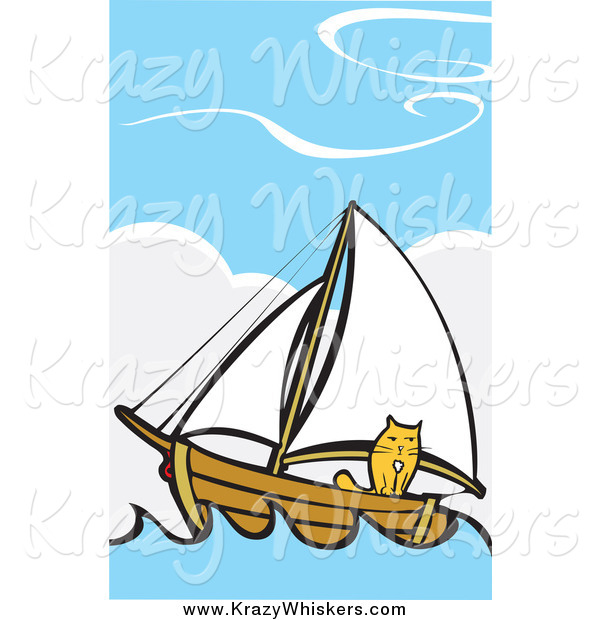 Critter Clipart of a Ginger Cat on a Sailboat at Sea