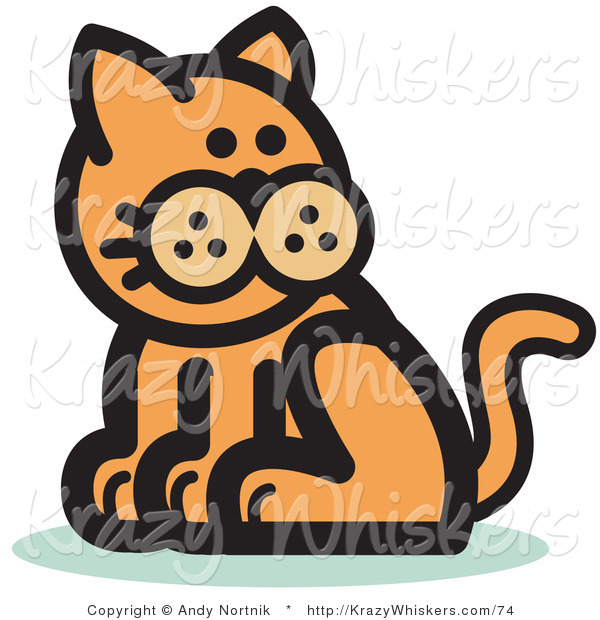 Critter Clipart of a Ginger Cat Sitting and Looking Back over His Shoulder