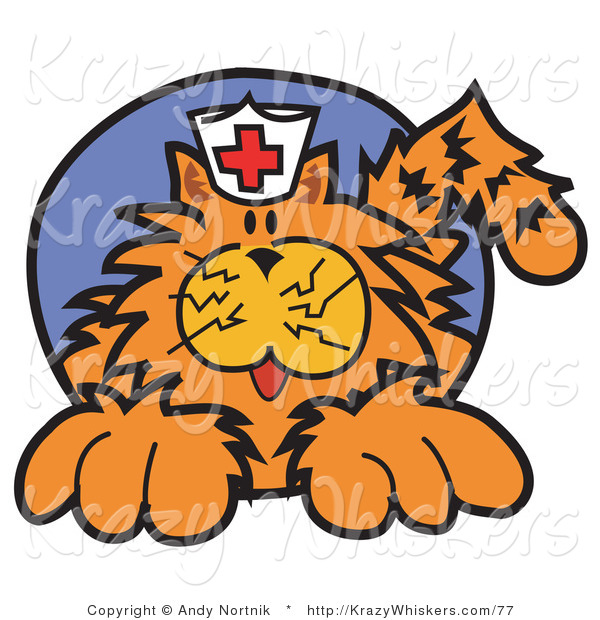 Critter Clipart of a Ginger Cat Wearing a White Nursing Hat with a Red Cross on It