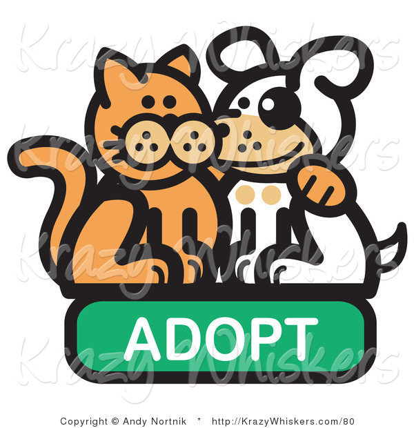 Critter Clipart of a Ginger Cat with His Arm Around a Cute White Dog on an Adopt Internet Web Icon