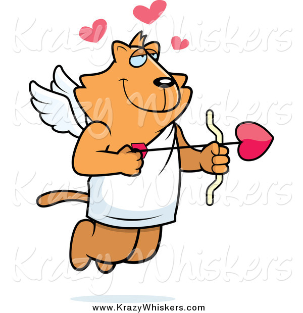 Critter Clipart of a Ginger Cupid Cat Shooting Heart Arrows