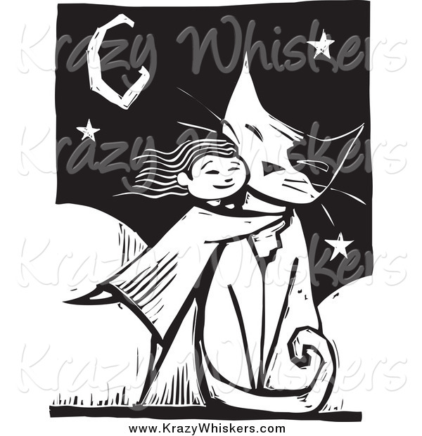 Critter Clipart of a Girl Hugging a Giant Cat, in Black and White Woodcut Style