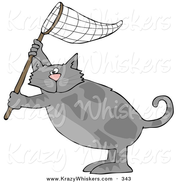 Critter Clipart of a Gray Kitty Cat Standing on Its Hind Legs and Holding up a Fishing Net