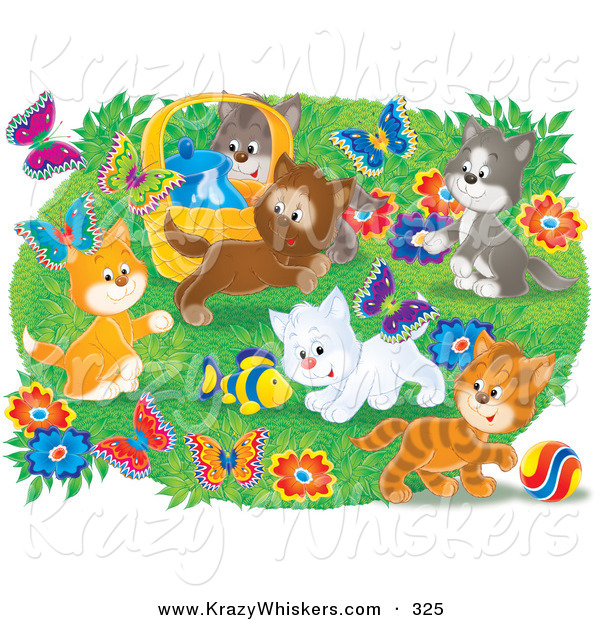 Critter Clipart of a Group of Many Happy Kittens Playing with a Toy Fish and Chasing Butterflies Outdoors in a Flower Garden