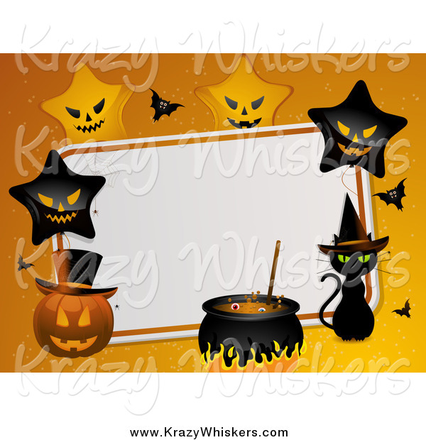 Critter Clipart of a Halloween Background with Stars, Pumpkins and a Witch Cat