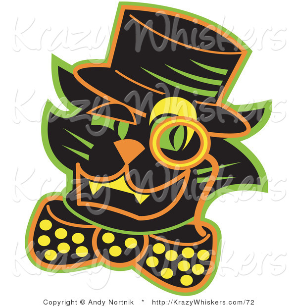 Critter Clipart of a Halloween Black Cat Wearing a Hat and a Bow and a Yellow Monacle over His Eye