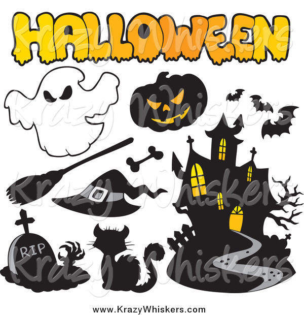 Critter Clipart of a Halloween Icons and Text