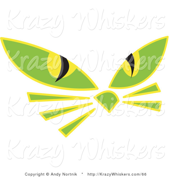 Critter Clipart of a Halloween Pair of Green Cat Eyes and Whiskers Glowing in the Dark